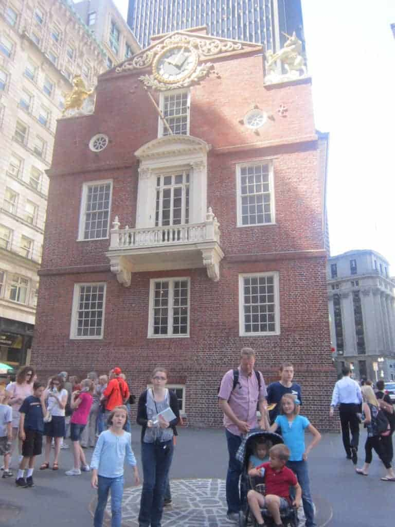 Boston Old State House. Freedom Trail. American History tour road trip for families with kids.