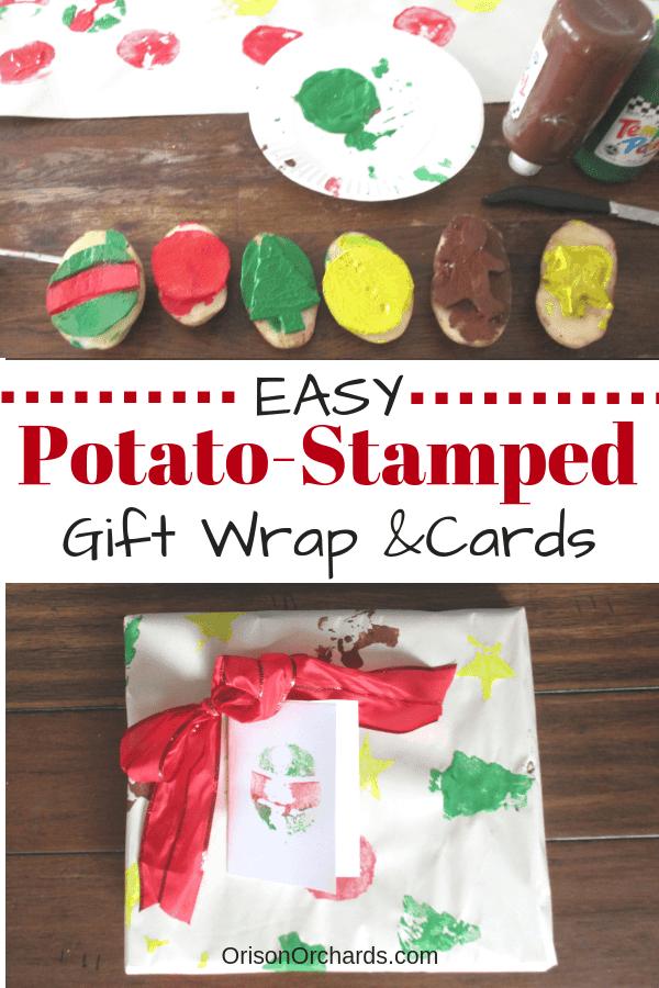 Potato Stamped Gift Wrap