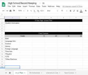 Homeschool High School Planning