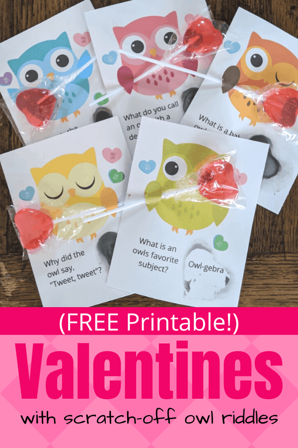Free Printable Valentines with Scratch-Off Owl Riddles